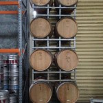 Second hand barrels in rack