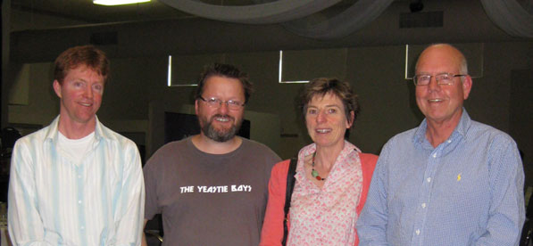 AWRI's Marcel Essling (L) and Peter Dry (R) with Max Allen and Libby Tassie at the Australian Alternative Varieties Wine Show in Mildura